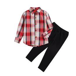 Marca de roupas linda menina on-line-Crianças meninas roupas roupas camisa xadrez leggings calças 2-piece set adorável bebê criança roupas menina preppy terno moda boutique 2-7A