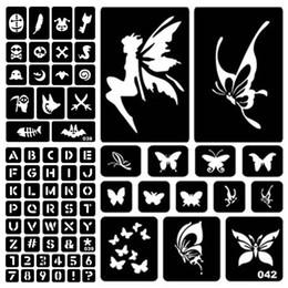 adesivi parola tatuaggio Sconti 1 foglio di body art vernice temporanea aerografo tatuaggi modelli adesivi fai da te fiore lettera parola per mano dito pittura # 275072