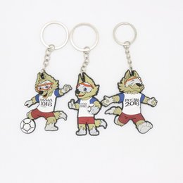 Wholesale key buckle carabiner - 2018 russia World Cup Souvenir Mascot Key Buckle ZABIVAKA Key Chain Pendant Key pendant Soccer Mascot Football Wolf FIFA World Cup z149