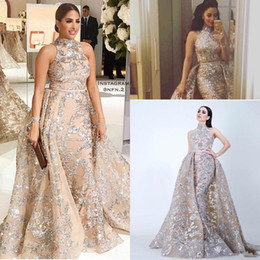 Wholesale One Shoulder Beaded Crystal Dresses - Sequined Appliques Mermaid Overskirt Evening Dresses 2018 Yousef Aljasmi Dubai Arabic High Neck Plus Size Occasion Prom Party Dress
