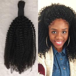 Wholesale Human Braid Hair Bulk - Kinky Curly Human Hair Bulk For Braiding Natural Black 1pc Mongolian Curly Bulk Hair For Black Women