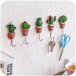 Wholesale Clothing Stickers For Kids - Cactus Wall Hook Lovely Creative Plant Bathroom Towel Holders Waterproof Hanger Kitchen Goods Clothes Tie Organizer Hooks On The Wall