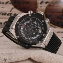 Wholesale miyota quartz - Luxury Brand Steel Case Black Bezel Skeleton Dial Miyota Quartz Chronograph Mens Watch Black Rubber Strap Sports Watches Stopwatch HB104d4