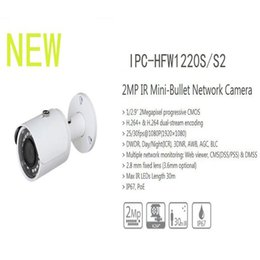 Wholesale Ipc Securities - Free Shipping DAHUA Security IP Camera 2MP IR Mini-Bullet Network Camera IP67 With PoE Without Logo IPC-HFW1220S