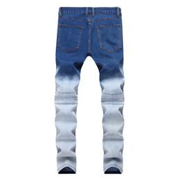 uomini a doppia cerniera jeans Sconti Jeans skinny da uomo locomotiva Zipper Spring Jeans da uomo Elasticity Doppio colore Broken Hole a vita media Pantaloni con strappi casual