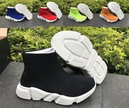 sapatas pretas da patente das crianças Desconto Crianças Sapatos de Corrida De Luxo Paris Formadores Da Velocidade Da Juventude Meninos Meninas Moda Stretch Malha Alta Top Sneakers Malha Meia Tênis de Corrida Tamanho25-35