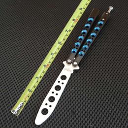 couteaux de chasse tranchants Promotion Papillon tactique de style bleu Camping couteau de chasse couteau de formation de lame non tranchante avec manche lisse BM couteau de survie