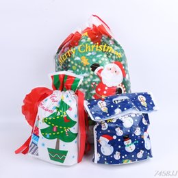 Wholesale Christmas Presents Ornaments - Merry Christmas Santa Claus Stockings Socks Candy Gift Bag Pouches Xmas Decor Cookie Candy Fudge Present G15 Drop ship