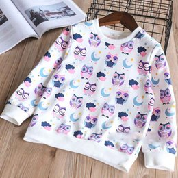 Wholesale Owl Shirts Girls - Everweekend Girls Owl Moon Print Cotton Tees Shirts Spring Autumn Sweet Children Fashion Cartoon Tops Blouse