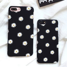 Wholesale iphone frosted case - Ultra thin Frosted Cute Daisy Flower Case For iphone 6 6S 7 8 plus X Case Lovely Cartoon Floral Back Cover Hard Phone Cases
