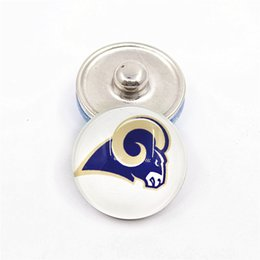 Wholesale Tin Box Printed - 20pcs 18MM Glass Printed Football Flag Snaps Buttons Charm Jewelry Fit Ginger Snaps Bracelet Pendant