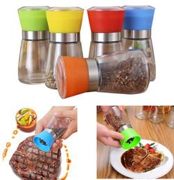 2019 mulini per spezie di vetro Macinino per sale e pepe Grinder Glass Grinder per peperoni Shaker Spice Contenitore per sale Condimento per vasetti Contenitori per macinazione sconti mulini per spezie di vetro