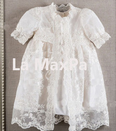 Wholesale Boys Baptism Dress - Vintage baby girls Christening gowns baptism dresses for girl boys toddlers outfit half sleeves with lace