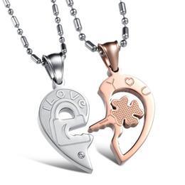 melhores chaves de bloqueio Desconto Bloqueio do coração e chave casais colar de pingente dele e dela casal ou melhor amigo par de colares de titânio de aço inoxidável OGX844