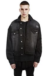 Jeans punk sciolti online-Giacche di jeans Street Style per uomo Punk Scratched Outwears Giacche lavate in stile Blackgray lavato moda