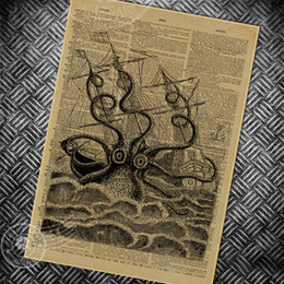 Wholesale Painting Small Rooms - vintage poster retro abstract octopus painting bedroom living room wall art picture old newspaper photo classic posters 42x30cm