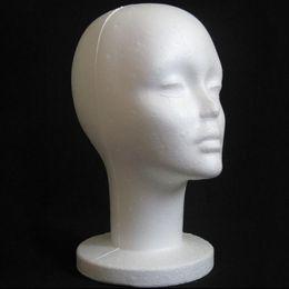 Peluca de espuma de poliestireno online-2017 Modelo de Cabeza Femenina Espuma de Poliestireno Maniquí Maniquí Modelo de Espuma Peluca Pelo Gafas Pantalla Negro moda caliente sep18