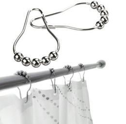 Wholesale Polished Nickel Curtain Rings - Rustproof Metal Shower Curtain Rollerball Rings Hooks, (Polished Nickel) - 5 Roller Ball Shower Curtain Bath Ring Hook
