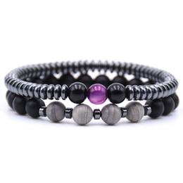 Gold energie online-2Pcs / Set Charm Naturstein Energy Bead Armband Schwarz Gold White Beads Klassische Perlen Armband für Frauen und Männer Armreifen