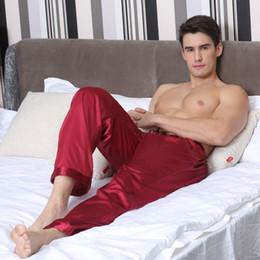 Pantaloni in raso di mens online-TonyCandice Pajama Pantaloni da uomo in raso di seta fondo sonno Pantaloni casual da uomo pigiameria uomo lungo salotto pigiama morbido intimo
