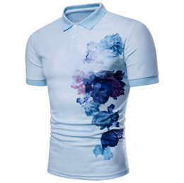 Wholesale t shirts flower men - Summer Polo Shirt Luxury Design Flower Painting Pattern Mens Casual print T-shirts Male Fashion Clothing M-3XL