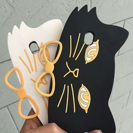 Wholesale Black Cat Silicone Case - Fashion Cartoon Cat Rugged Silicone Cover Soft TPU Shell Ring Case For Phone X 8 7 6 6S Plus Back Cover OPP BAG