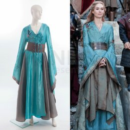 Wholesale Party Dance Games - Custom Made Game of Thrones Queen Cersei Lannister Green Exclusive Dress Costume Adult Women Dance Party Cosplay Costume