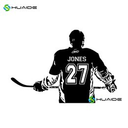 Wholesale Wall Decals Custom Name - Ice Hockey Wall Decal Custom Name and Number Personalized Home Decor Wall Stickers For Kids Room Vinilos Paredes Mural Art A83