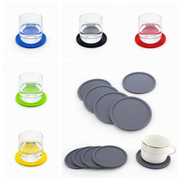 Wholesale black glass tables - 10Cm Silicone Coaster Thick Cup Mug Glass Bottle Placemats Nonslip Table Mat Dishwasher Safe Pad Ground 6 Colors DDA710