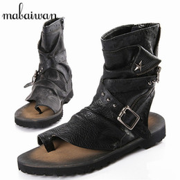 black punk sandals Coupons - Mabaiwan Fashion Summer Punk Style Men Sandals Gladiator Boots Black Casual Flat Shoes Ankle Booties Mens Beach Shoes