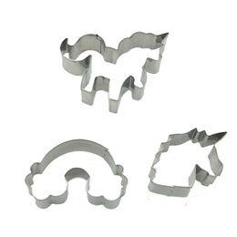 Set emporte-pièces en acier inoxydable en Ligne-Moule à biscuits moule en forme de licorne en acier inoxydable moules à biscuits moules de cuisson moules