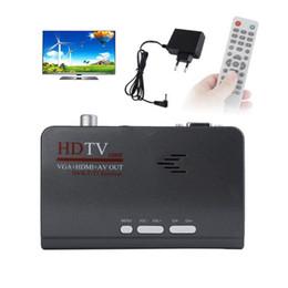 2019 sintonizador hdmi lcd tv HDMI 1080P VGA DVB-T2 DVB-T Caja de TV AV a VGA TV CVBS Sintonizador Receptor con control remoto para monitores LCD / CRT sintonizador hdmi lcd tv baratos