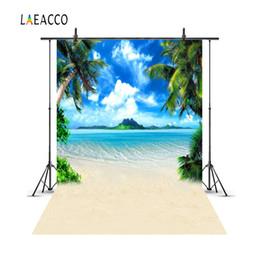2019 cenários de fotografia do mar Laeacco verão céu azul mar ilha praia palm tree fotografia fundos personalizados backdrops fotográficos para estúdio de fotografia desconto cenários de fotografia do mar