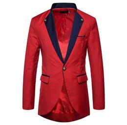 Wholesale Long Dress For Wedding Coat - 2018 New Mens Red Blazer Fashion Men's Tuxedo Suits Plus Size Long Prom Dress for Men Wedding Coat Veste Homme CD50