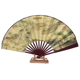 Wholesale Crafts Presents - Wholesale- silk cloth double-sided design present Chinese bamboo hand fan wedding souvenirs home decoration crafts vintage poetry
