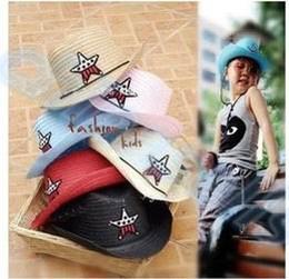 89512539415 Wholesale-200pcs Child travel summer star hat sun cap west cowboy baby kid  fishing beach visor hat outdoor sport large brimmed Strawhat