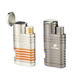2019 cohiba zigarren feuerzeug COHIBA Metal Lighter 4 Torch Jet Flame Zigarette Zigarettenanzünder mit Zigarre Punch Grey Farbe für das Rauchen günstig cohiba zigarren feuerzeug