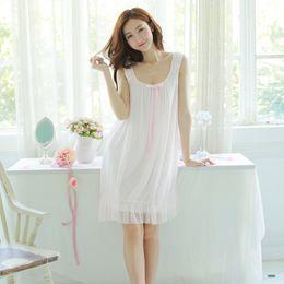 5b48e8c524 white cotton nightgowns Promo Codes - 2018 Women white pink nightgown Women  Nightgowns Cotton Sleeveless sexy