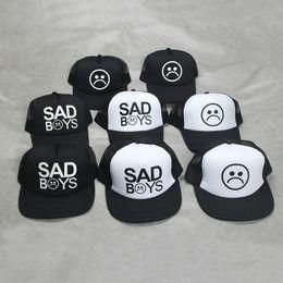 Wholesale Wholesale Flat Bill Hats - Fashion SAD BOYS Print Trucker Cap Men Baseball Hat Bone gorras Women sun hat sadboy Free shipping Black Flat Bill trucker