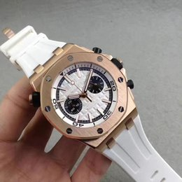 Wholesale Rose Ring Watch - Luxury AAA quality high-end men's fashion wristwatch rose gold watch Ring White Dial Rubber Band V6 quartz core free freight