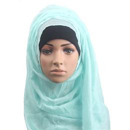 Wholesale Red Muffler - Scarfs For Ladies Muslim Scarves Long Wrap Soft Muffler Women Maxi Solid Cotton Hijab Scarves Pashmina Foulard Cotton Hot Women Head Scarf
