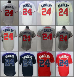 Wholesale Wrinkle Creams - 2018 Flexbase Atlanta #24 Deion Sanders Home Away Baseball Jersey White Red Cream Black Cool Base Stitched Jerseys
