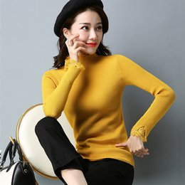 af153456b0eb Winter Womens Lace Knitted Sweater Warm Plain Long Sleeve Pullover Autumn  Tops
