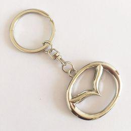Wholesale keyring car logo - 3D Metal Car Logo Keychain Key Chain Keyring Key Ring For Mazda Axela Atenza CX-5 Auto Pannant Car Accessories