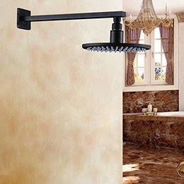 """Wholesale Bronze Shower Faucets - Wall Mount Shower Arm + 8"""" Round Top Shower Head Oil Rubbed Bronze"""
