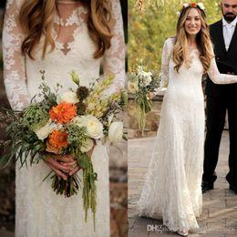 Wholesale Long Sleeve Loose Wedding Dress - Vintage Lace Wedding Dress Mermaid Scoop Long Sleeve Loose Bridal Dresses Floor Length Garden Wedding Gown