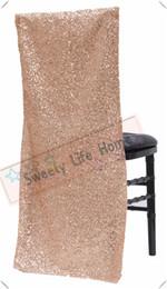 Nuovi prodotti Coprisedili chiavari con paillettes / Glitz Coprisedili per banchetto per feste Eventi Paralume per sedia in oro rosa da