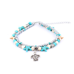 Wholesale Classic Yoga - Europe and the United States fashion conch Mi beads yoga anklet bracelet Beach turtles pendant starfish pearl crystal bead bracelets