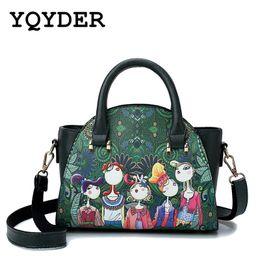 Bolsa crossbody verde on-line-Padrão de moda dos desenhos animados mini crossbody sacos para bolsas das mulheres floresta verde bolsas designer de couro sacos de ombro senhoras sac