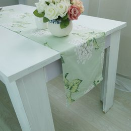 Wholesale Green Table Restaurant - Straight Angle Green Flowers Printing Table Flag Table Runner 100% Cotton Home Hotel Restaurant Dining Decorative